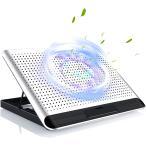 ノートパソコンスタンド 冷却パッド 冷却台 PCクーラー 強力 静音 160mm超大型冷却ファン USBポート2口 風量調節 6段階角度調整 18インチ型まで対応