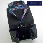 シャツ / メンズドレスシャツ 長袖1509 ドレスシャツ イタリアンススキッパースタンド ブラックジャガードドクロドット