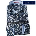 シャツ / メンズドレスシャツ 長袖1710 綿100%ドレスシャツ カッタウェイワイド 濃紺 フォリアージュプリント