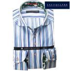 シャツ / メンズドレスシャツ 長袖1807 綿100%ドレスシャツ カッタウェイワイド プリント柄(青・スカイ・ストライプ)