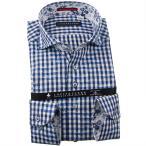 シャツ / メンズドレスシャツ 長袖綿100%ドレスシャツ カッタウェイワイド ギンガムチェック&フラワージャガード 白 濃紺 青 1910