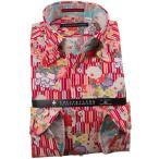 シャツ / メンズドレスシャツ 長袖綿100%ドレスシャツ ボタンダウン ちりめん 縮緬 赤 プリント 矢絣 やがすり 矢羽 菊 1910