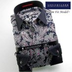 シャツ / メンズドレスシャツ 長袖1509 コットンドレスシャツ スリム クレリックショートレギュラーカラー 濃紺ペイズリー