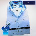 シャツ / メンズドレスシャツ 半袖1607 綿100%ドレスシャツ イタリアンススキッパースタンド サックス青 刺し子マリンドット
