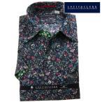 シャツ / メンズドレスシャツ 半袖綿100%ドレスシャツ アロハシャツ風 ワンピースワイド ブラック 小花柄プリント 青 緑 赤 ベージュ 1906