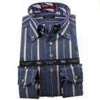 シャツ / メンズドレスシャツ 長袖綿100%ドレスシャツ ボタンダウン グレー濃紺 シックシンストライプ 1911