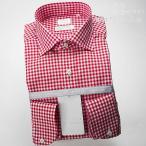 ショッピングギンガムチェック ワイシャツ  長袖<White Label〜白レーベル〜>ワイシャツ ワイド 赤ギンガムチェック