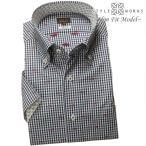 ワイシャツ| 半袖1805 ワイシャツ スリム 濃紺ギンガムチェック 魚柄カットジャガードドット ボタンダウン