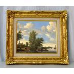 世界の名画 ロイスダール渡し船と川の風景2 ジクレーキャンバス複製画 豪華額装品