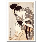 喜多川歌麿 婦人手業拾二工 髪結い ジークレーポスター B4 (364ミリ×257ミリ)