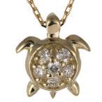 ショッピングタートルネック ハワイアンジュエリー 亀 タートル ネックレス 一粒 ペンダント イエローゴールド ダイヤモンド レディース 宝石
