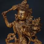 木彫り 仏像 文殊菩薩 チベット仏像 フィギュア 文殊菩薩像 座像 仏教美術  置物