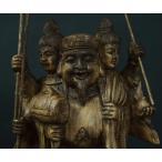 木彫り 仏像 三面大黒天 フィギュア 三面大黒天像 立像 仏教美術 置物 七福神 大黒天