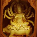 木彫り 仏像 摩利支天 フィギュア 摩利支天像 置物 仏教美術