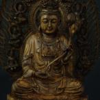 木彫り 仏像 勢至菩薩 フィギュア 勢至菩薩像 座像 仏教美術 置物