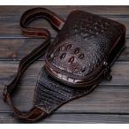 クロコ 型押し オイルレザー ボディバッグ 本革 レザー 牛革 メンズ レディース ワンショルダー 鞄