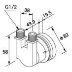ノーリツ 給湯器用循環アダプター HX-F フレキ接続・90°曲がり取り出し