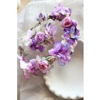 Yahoo!sunshinemall花冠新入荷、手作り、はなかんむり、カチューシャ、クラシック、森ガール、ボヘミア、暖かい春の思い出、ガーデンウエディング、ロマンチック紫sp540