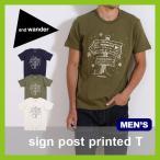 and wander アンドワンダー サインポストプリンテッドT  メンズTシャツ 半袖 男性 メンズ AW63-JT060 フェス