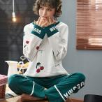 パジャマ ルームウェア レデイース セットアップ  2点セット 秋 春 冬 寝巻き パジャマ 部屋着 長袖 寝間着 上下セット 可愛い 韓国風