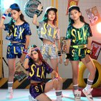 キッズ ダンス 衣装 スパンコール ガールズ ヒップホップ  2点セット セットアップ ダンストップス 子供 演出服 110-170cm