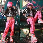 キッズ ダンス衣装  ヒップホップ HIPHOP セットアップ チェック柄  女の子 子供用 ジャズダンス トップス  長袖 ダンスパンツ 練習着  体操服