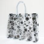 (メール便不可) (花がら) (透明バッグ) フラワー ビニールバッグ Mサイズ ブラック(日本製) ※本製品はメール便では送れません。