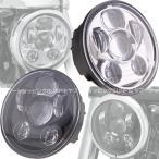 新型LED ヘッドライトユニット Harley オートバイ 純正交換 ハーレー 5.6インチ(5-3/4inch車適合) 40W Hi/Lo 防水 LEDライト ホワイト 銀/黒 Dタイプ 汎用