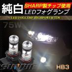 HB3 9005 SHARP製 360度発光 75W LEDバルブ シングル球 白 2個 LEDフォグランプ バックランプ