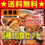 吉野家 送料無料 5種15食set 牛丼の具 7食 豚丼の具 2食 牛焼肉丼の具 2食 焼鶏丼の具 2食 豚しょうが焼き 2食 計15食 まとめ買い