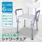 シャワーチェア お風呂椅子 高さ6段階調節 介護用 シャワーイス 背付き 肘掛け SunRuck SR-SBC018 調高可能 送料無料