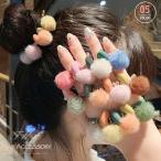 大人可愛い ヘアゴム ファーポンポン ヘアアクセサリー 髪飾り 女性 髪留め ゴム ポニーテール【ネコポス可】