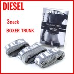 ディーゼル DIESEL メンズ ボクサーパンツ パンツ トランクス 下着 3枚セット 3パック  ストレッチコットン 00cky30ntga-020 グレー