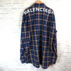 バレンシアガ 508465 TYB16 バックロゴチェックシャツ 美品 18SS オーバーサイズ 長袖 39サイズ ブルー系 BALENCIAGA トップス W4742☆