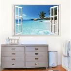 ウォールステッカーW13 窓ポスター 3D ステッカー ヤシの木 壁紙シール 海 ビーチ 壁飾り 絵 窓の景色 60cm*90cm