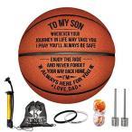 ケノン彫刻入りバスケットボール 息子用 - パーソナライズ バスケットボール インドア/アウトドアゲームボール - To My Son Enioy T
