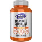 ナウスポーツ アルギニン500mg&シトルリン250mg 120粒【NOW SPORTS】L-Arginine 500mg & Citrulline 250mg 120CAP NOW FOODS