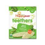 6か月からのオーガニックベビーフード Teethers エンドウ豆&ホウレンソウ 24枚入り Happy Baby(ハッピーベイビー)