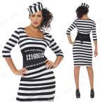 小粋な囚人大人用Lパーティーグッズイベント用品仮装衣装コスプレコスチューム女性用レディースハロウィン囚人服プリズナー