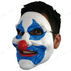 ブルーピエロマスクパーティーグッズイベント用品プチ仮装変装グッズコスプレハロウィンかぶりものホラーマスククラウン悪魔デビル