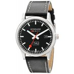 モンディーン MONDAINE 腕時計 スポーツライン デイデイト ブラック文字盤 ブラックレザーストラップ A667.30308.19SBB メンズ 新品