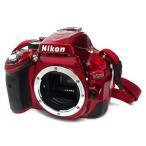 中古カメラ デジタル一眼レフカメラ D5200 ダブルズームキット 2410万画素 (レッド) (状態:レンズ2本・中箱欠