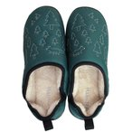 あったか室内履き ルームシューズ リビング用暖かルームシューズ (ボアスリッパ) ダウンスリッパ グリーン Mサイズ(22-24cm)