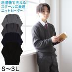 男子 スクール V首セーター S〜3L (制服 セーター スクールニット 大きいサイズ 無地 S M L LL 3L)