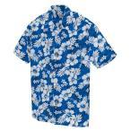 アロハシャツ メンズ レディース 半袖 女性 ハイビスカス ハワイアン ブルー