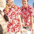アロハシャツ メンズ レディース 半袖 女性 ハイビスカス ハワイアン レッド