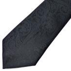 ネクタイ メンズ 幅 7cm ブラック 黒 ペイズリー ナロータイ ビジネス カジュアルne102