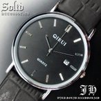 送料無料 腕時計 メンズ おしゃれ ラウンド シンプル ブラック 黒 アナログ カラフル 時計 日付 tvs288