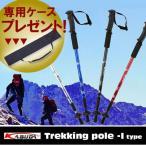 ストック 登山 トレッキングポール コンパクト ウォーキング I型 ステッキ 軽量 ポール ケース 付き