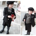 子供スーツ     男の子 フォーマル  タキシード  スーツブラック   5点セット  結婚式    七五三   入園式入学式   ピアノ発表会 bfs02